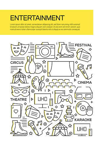 Entertainment Concept Line Style Cover Design for Annual Report, Flyer, Brochure.