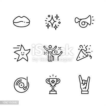 Entertainment Event theme related outline vector icon set. 9 Outline style black and white icons / Set #36  First row of outline icons contains:  Lips icon, Firework (sparkle icon), Beep horn;   Second row contains:  Pop star icon, Dancing people, Party Popper;  Third row contains:  DJ Party icon (Vinyl record), Trophy Cup (Award), Horn gesture.  Pixel Perfect Principle - all the icons are designed in 64x64 px grid, outline stroke 2 px. Complete Outline 3x3 PRO collection - https://www.istockphoto.com/collaboration/boards/hyo8kGplAEWxASfzDWET0Q