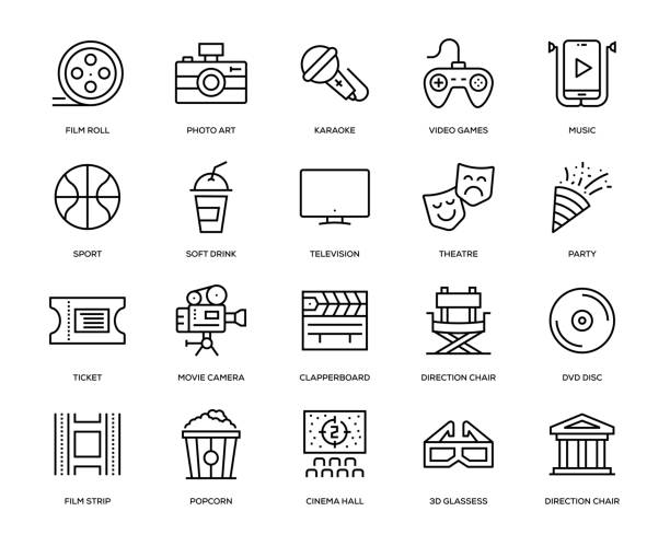 Entertainment Icon Set Entertainment Icon Set - Thin Line Series arts culture and entertainment stock illustrations