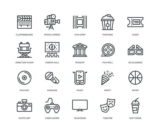 illustrazioni stock, clip art, cartoni animati e icone di tendenza di entertainment icons - line series - arte, cultura e spettacolo