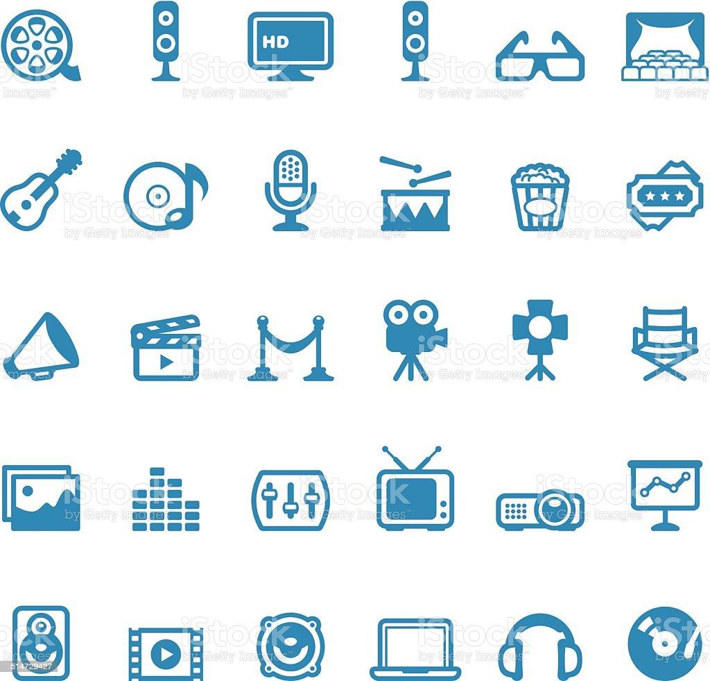 Entertainment icons / Linico series vector art illustration