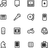 Entertainment icons - Regular Outline Vector EPS File.
