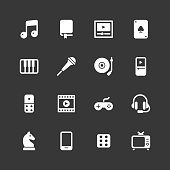 Entertainment icons - Regular - White Series Vector EPS File.