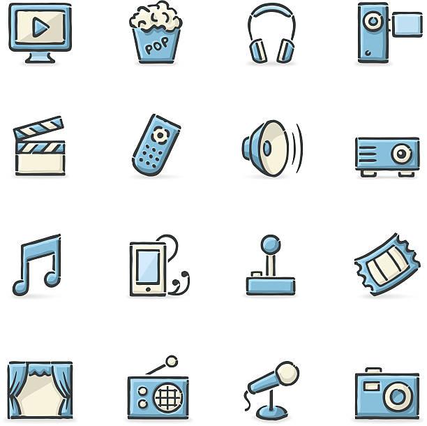 stockillustraties, clipart, cartoons en iconen met entertainment icons - photography curtains