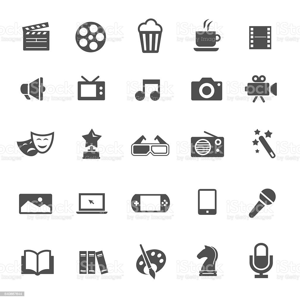 Entertainment icons vector art illustration