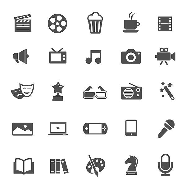 entertainment icons - music and entertainment icons stock illustrations