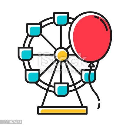 Entertainment industry red color icon. Recreation area. Amusement park. Funfair. Leisure sector. Ferris wheel and balloon. City holiday celebration. Isolated vector illustration