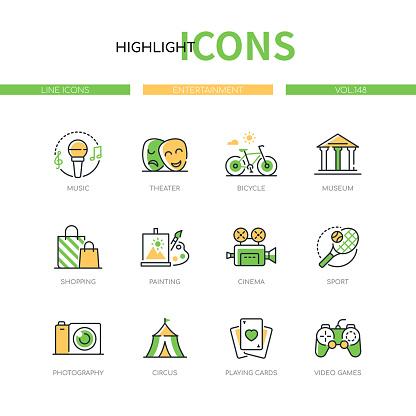 Entertainment - modern line design style icons set