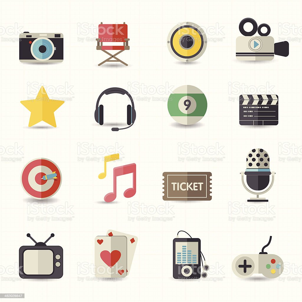 Entertainment movie icons royalty-free stock vector art