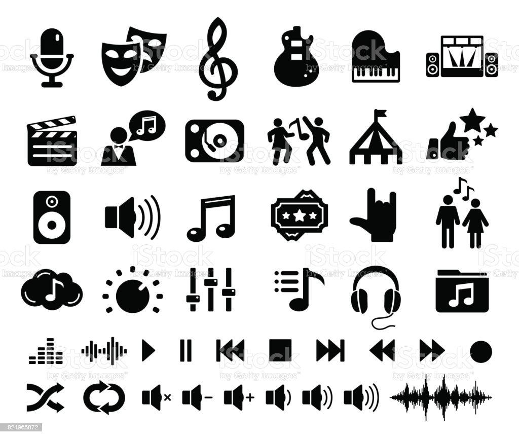 Entertainment Music Cinema Theatre Circus icons - illustration vector art illustration