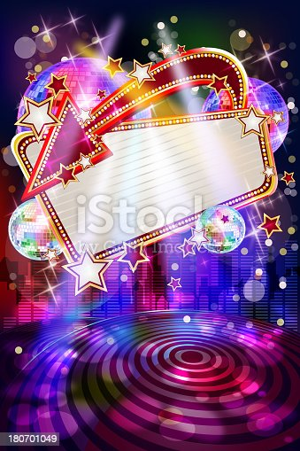 istock Entertainment - Musical Party Background with Marquee 180701049