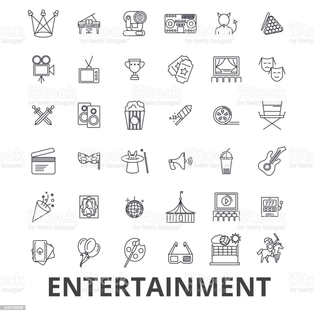 Entertainment, musician, movie, party, media, shopping, sports, fun, theatre line icons. Editable strokes. Flat design vector illustration symbol concept. Linear signs isolated royalty-free entertainment musician movie party media shopping sports fun theatre line icons editable strokes flat design vector illustration symbol concept linear signs isolated stock illustration - download image now