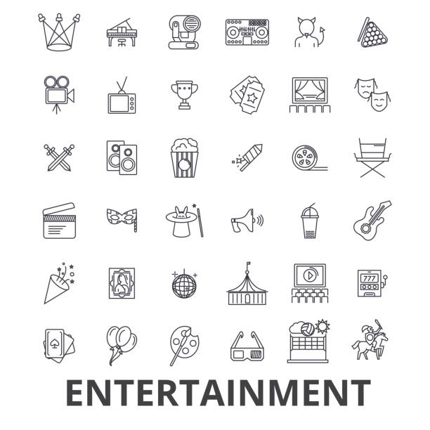 Entertainment, musician, movie, party, media, shopping, sports, fun, theatre line icons. Editable strokes. Flat design vector illustration symbol concept. Linear signs isolated Entertainment, musician, movie, party, media, shopping, sports, fun, theatre line icons. Editable strokes. Flat design vector illustration symbol concept. Linear signs isolated on white background performing arts event stock illustrations