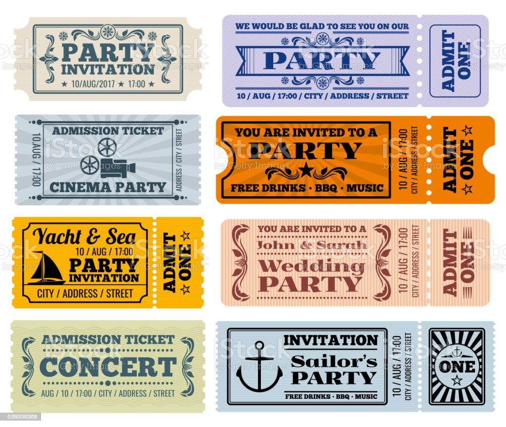 Entertainment, party and cinema vector vintage tickets coupons templates vector art illustration