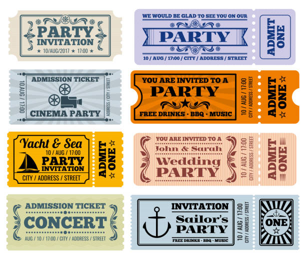 entertainment, party and cinema vector vintage tickets coupons templates - tickets and vouchers templates stock illustrations