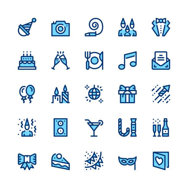 Divertissement, party, événement corporatif, célébration ligne icônes ensemble. Concepts de design graphique moderne, symboles simples, éléments web course linéaire, collection de pictogrammes. Conception mince minime. De qualité supérieure. Pixel perfect. Icônes des grandes lignes vectorielles - Illustration vectorielle