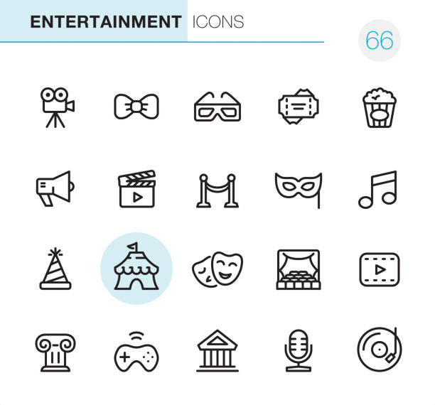 Entertainment - Pixel Perfect icons 20 Outline Style - Black line - Pixel Perfect icons / Set #66 / Entertainment / Icons are designed in 48x48pх square, outline stroke 2px.  First row of outline icons contains:  Movie Camera, Bow Tie, 3-D Glasses, Tickets, Popcorn;  Second row contains:  Speaker, Film Industry, Red Carpet, Mask - Disguise, Music;  Third row contains:  Event, Circus, Tragedy & Comedy Mask, Stage, Movie;   Fourth row contains:  Architecture, Video Game, Theater, Microphone, Record.  Complete Primico collection - https://www.istockphoto.com/collaboration/boards/NQPVdXl6m0W6Zy5mWYkSyw theatrical performance stock illustrations