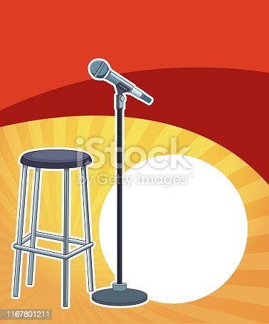 Entertainment show chair and microphone over red and yellow background vector illustration graphic design