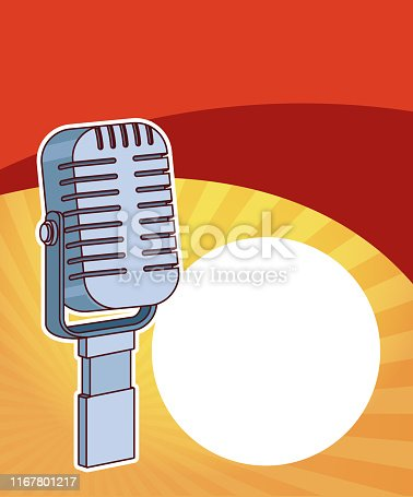 Entertainment show vintage microphone over red and yellow background vector illustration graphic design