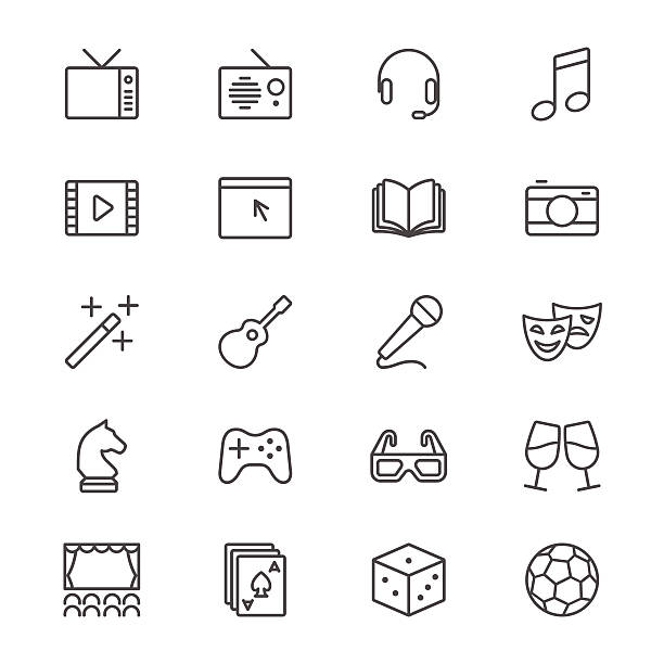 Unterhaltung dünne Symbole – Vektorgrafik