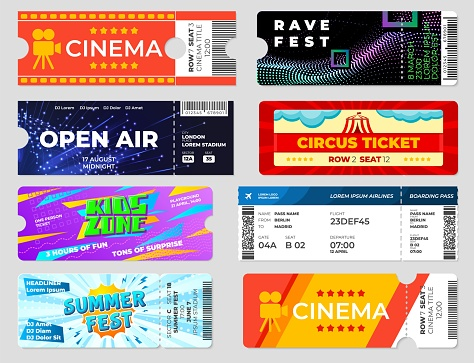 Entertainment tickets. Concert cinema event flyers, circus fest invitation cards template. Boarding pass, entrance papers recent vector set