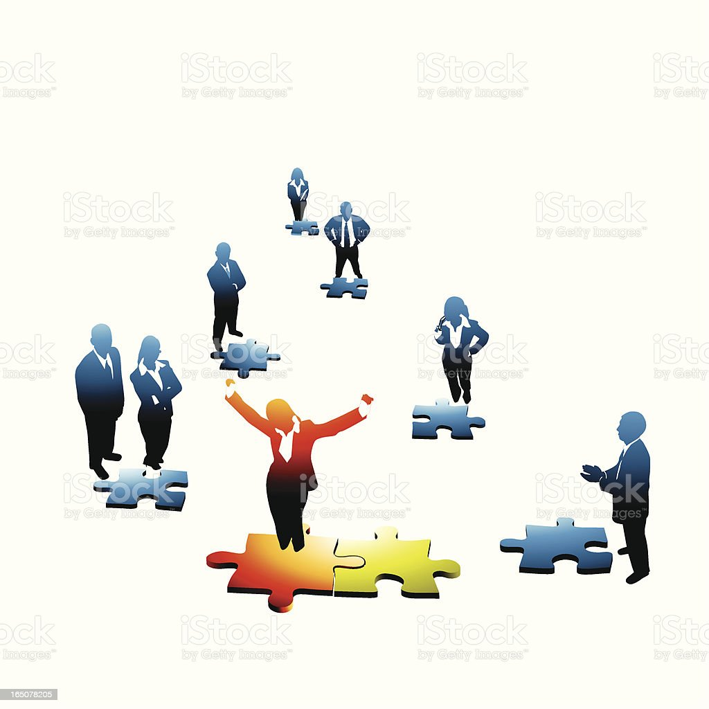Enthusiastic Leader connecting the dots... royalty-free stock vector art