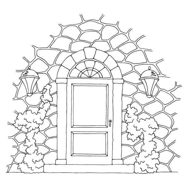 ilustrações de stock, clip art, desenhos animados e ícones de entrance door graphic black white sketch illustration vector - ivy building