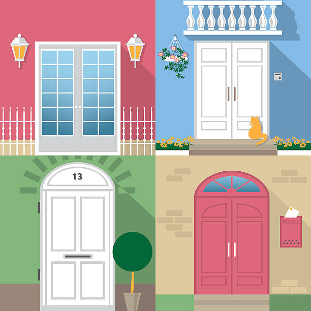 entrance door illustration color illustrations with different types of entrance doors front stoop stock illustrations