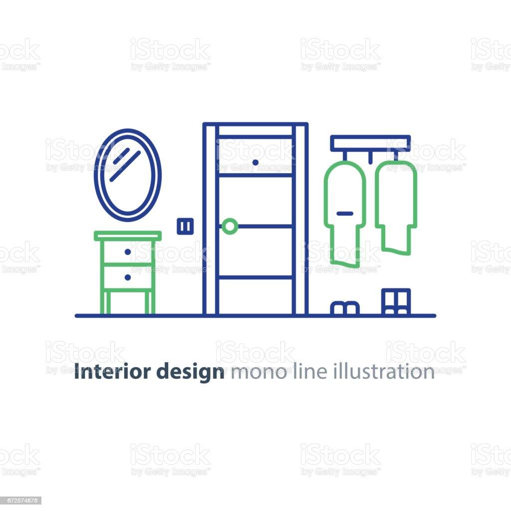 Eingang Tür Minimalistischen Innenarchitektur Linie Illustration ...