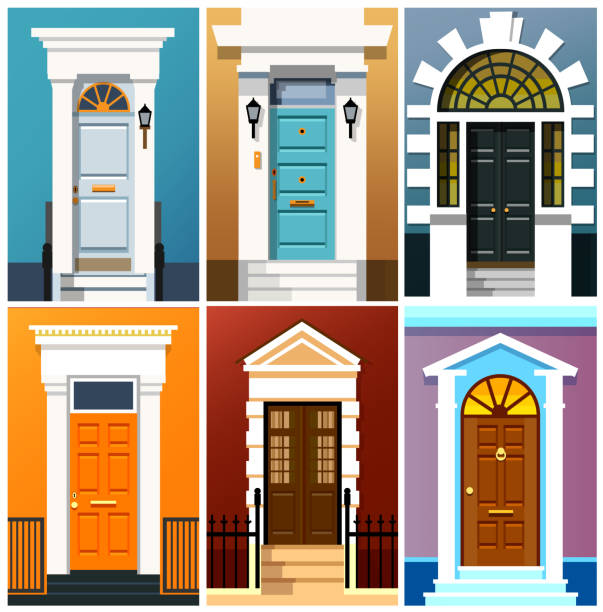 Entrance doors Entrance doors. A set of entrance doors. A set of entrance doors in a flat style. Set of colorful front doors for homes and buildings. Vector illustration Eps10 file front door stock illustrations