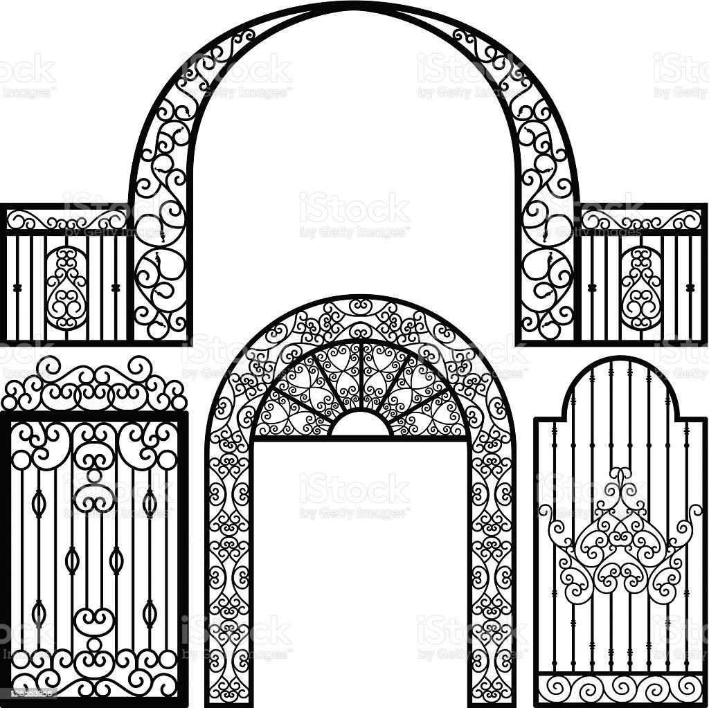 Entrance Gate Door Fence Vintage Retro Ancient Garden vector art illustration