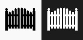 Entrance Gate Icon on Black and White Vector Backgrounds. This vector illustration includes two variations of the icon one in black on a light background on the left and another version in white on a dark background positioned on the right. The vector icon is simple yet elegant and can be used in a variety of ways including website or mobile application icon. This royalty free image is 100% vector based and all design elements can be scaled to any size.