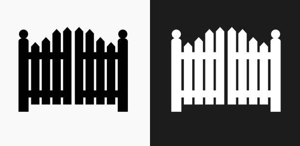 illustrazioni stock, clip art, cartoni animati e icone di tendenza di icona cancello d'ingresso su sfondi vettoriali in bianco e nero - cancello