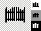 Entrance Gate Icon on Checkerboard Transparent Background. This 100% royalty free vector illustration is featuring the icon on a checkerboard pattern transparent background. There are 3 additional color variations on the right..
