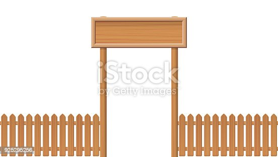 Entrance Gate With Blank Sign And Wooden Fence Isolated Vector ...