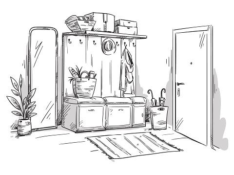 Entrance hall of an apartment, interior design vector sketch