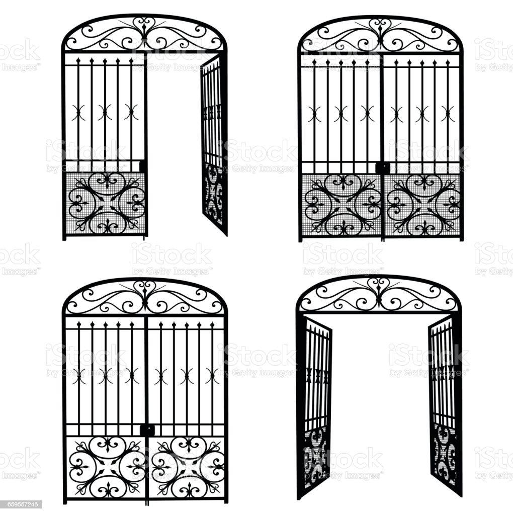 Entrance Metal Gate vector art illustration
