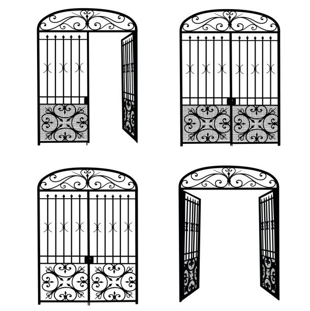 Entrance Metal Gate Silhouette illustration of a metal gate, open and closed.  In one instance, only half of the door is open on the right side. gate stock illustrations