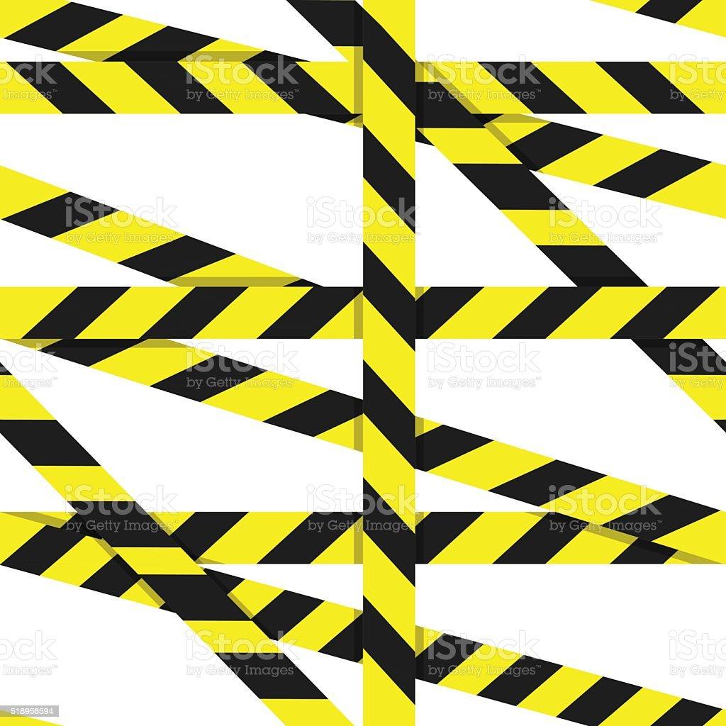 Entrance prohibited background seamless yellow warning caution ribbon vector art illustration