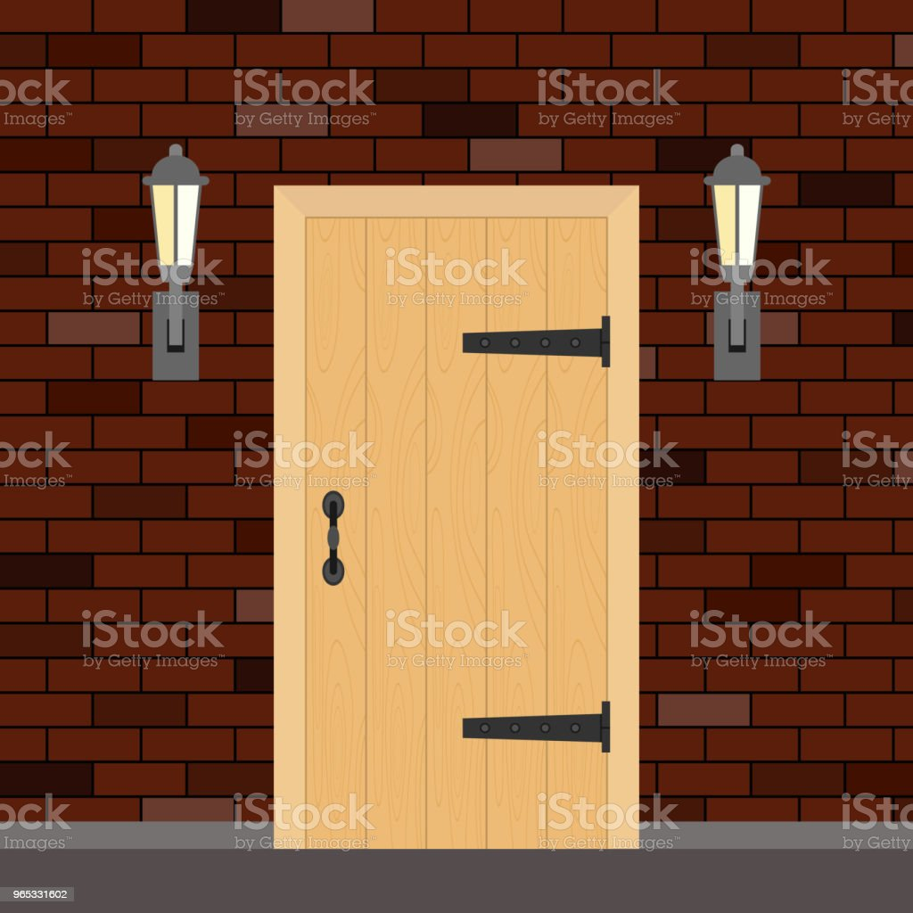 Entrance retro door with torches on the sides. Entrance door made of wood on a brick wall background. royalty-free entrance retro door with torches on the sides entrance door made of wood on a brick wall background stock vector art & more images of ancient