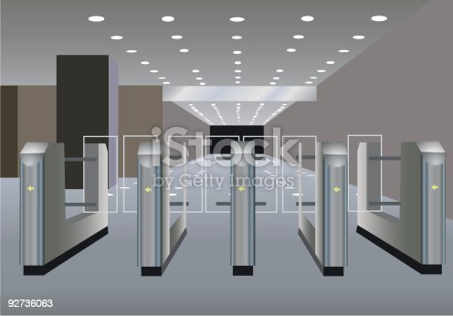istock Entrance through turnstiles into area with lighting overhead 92736063