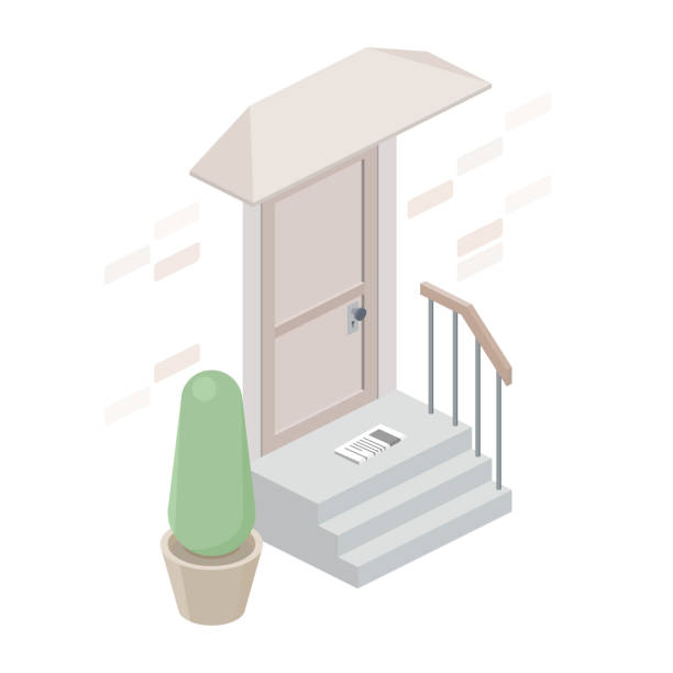 Entrance to the house isolated on white background. Mail delivery. Isometric stair, porch and door. Vector flat illustration. porch stock illustrations