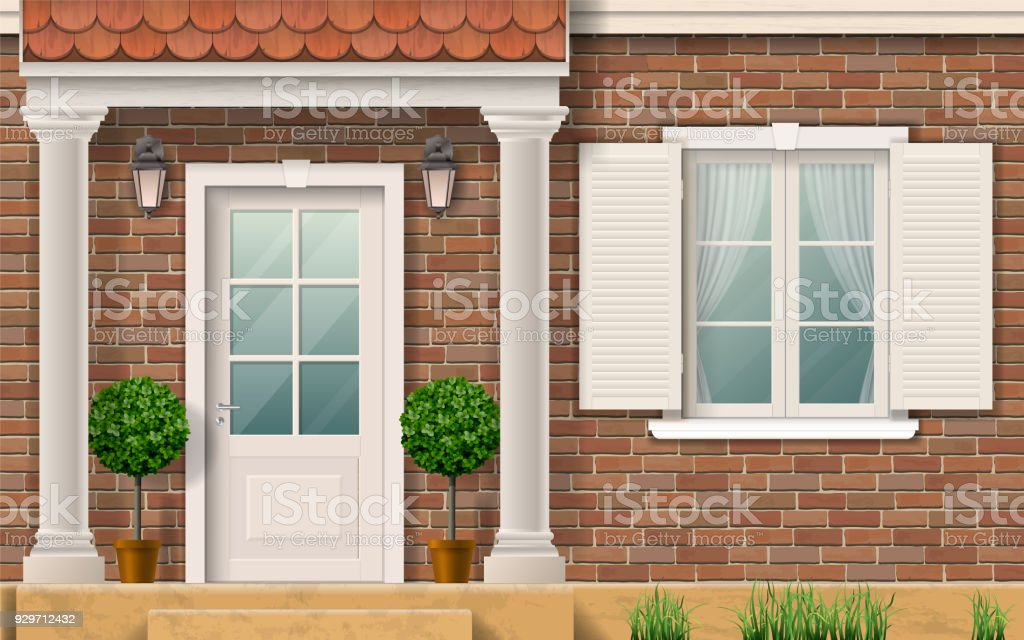 Entrance to the house with columns. vector art illustration