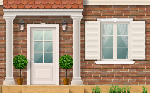 Entrance to the house with columns. The facade of a brick residential house. Porch entrance with columns. Realistic vector illustration. facade stock illustrations