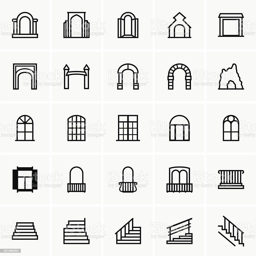Entrances and windows vector art illustration
