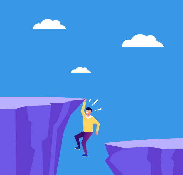 Entrepreneur businessman employee character hold on cliff. Business career finance fail concept. Vector flat cartoon graphic design isolated illustration Entrepreneur businessman employee character hold on cliff. Business career finance fail concept. Vector flat cartoon graphic design isolated cliff stock illustrations