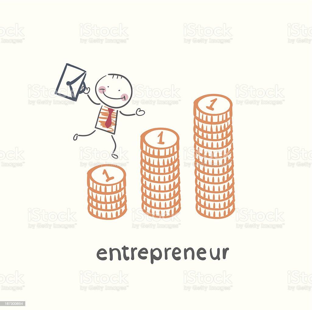 entrepreneur climbing up the schedule royalty-free stock vector art