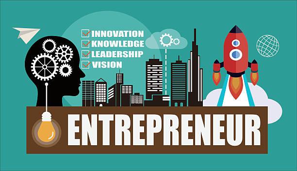 illustrations, cliparts, dessins animés et icônes de entrepreneur concept background with head silhouette - entrepreneur
