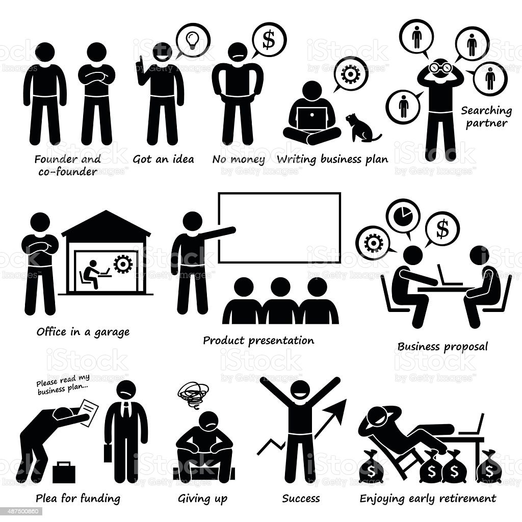 Entrepreneur Creating a Startup Business Company Pictogram vector art illustration