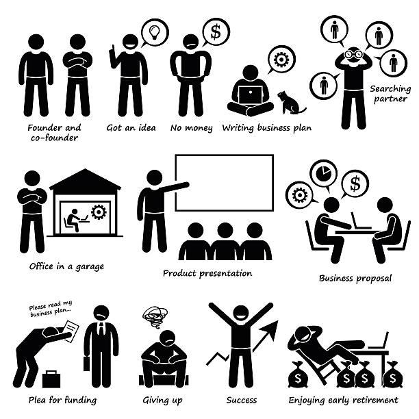 ilustrações de stock, clip art, desenhos animados e ícones de empresário criando um arranque do negócio empresa pictograma - enjoying wealthy life